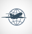 air travel - airplane flying around globe vector image