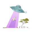 aliens abducting cow vector image