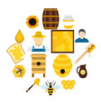 apiary flat icons set vector image vector image