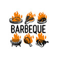 barbecue fest logo set with fire on white vector image vector image