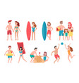 beach people family holiday vacation sunbathing vector image