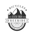 bicycles freeride extreme challenge vintage label vector image vector image
