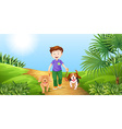 Boy taking dogs for walk in the park vector image vector image