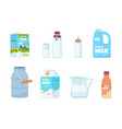 cartoon milk plastic bottle white food container vector image