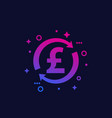 cash back money exchange icon with pound vector image vector image