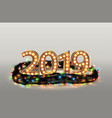 christmas garland with 2019 numbers vector image