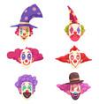 clowns masks set vector image