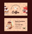 coffee pattern coffeebeans business card vector image