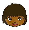comic cartoon happy female face vector image vector image