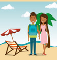 couple in the beach characters vector image vector image