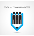 Creative pencil and people icon abstract logo desi vector image