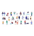crowd of tiny people dressed in seasonal clothes vector image