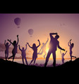 dancing people silhouettes on beach vector image