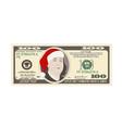 design template 100 dollars banknote with santa