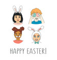 diverse kids childrens heads happy easter vector image vector image