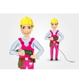 electrician or mechanic holding electric drill vector image vector image