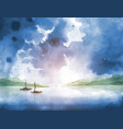 fishing boats and cloudy sky over big river vector image