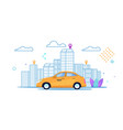 flat banner city yellow taxi rides ordered route vector image vector image