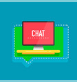 flat design computer screen with speech bubbles vector image