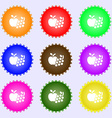 Fruits web icons sign Big set of colorful diverse