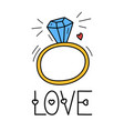 hand draw love diamond ring icon in doodle style vector image vector image