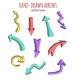 Hand drawn colorful arrows collection vector image