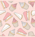 hand drawn pastry pattern with cake muffins vector image