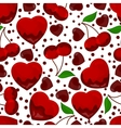 hearts and cherry in chocolate seamless pattern vector image