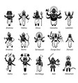 hindu gods goddess and deities in stick figure vector image vector image