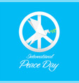 international peace day peace symbol origami dove vector image vector image