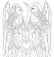 Lovely couple of exotic bird sitting on heart in vector image vector image
