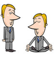 meditating businessman cartoon vector image