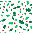 mistletoe tree with red balls seamless pattern vector image vector image