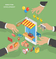 mobile store development flat isometric low poly vector image
