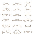 mustache collection coloring silhouette vector image vector image