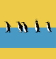 penguins walk on blue and yellow background vector image vector image