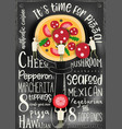 pizza cover black menu vector image vector image