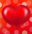 Red Poster With Bokeh And Heart vector image vector image