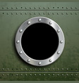 round window porthole on green metal background vector image vector image