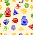 Seamless texture angel fish bells snowman and snow vector image vector image