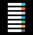 search bar field set interface elements with vector image vector image