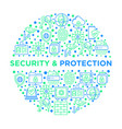 security and protection concept in circle vector image vector image