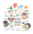 set cartoon children and spring elements vector image