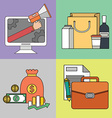 set color line icons on theme business vector image