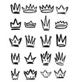 set hand drawn crown symbols design elements vector image vector image