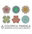 Set of Ethnic Fractal Mandala Meditation looks vector image vector image