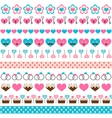 set of seamless romantic ribbons vector image