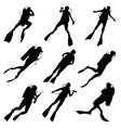 set silhouettes divers vector image