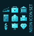 set stock exchange blue glowing neon icons vector image