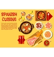 Spanish seafood and meat dishes flat icon vector image vector image